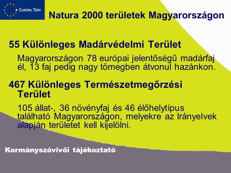 Natura 2000 területek Magyarországon 55 Különleges Madárvédelmi Terület Magyarországon 78 európai jelentőségű madárfaj él, 13 faj pedig nagy tömegben átvonul hazánkon.