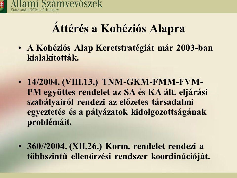 9 Áttérés a Kohéziós Alapra A Kohéziós Alap Keretstratégiát már 2003-ban kialakították. 14/2004. (VIII.13.) TNM-GKM-FMM-FVM- PM együttes rendelet az S