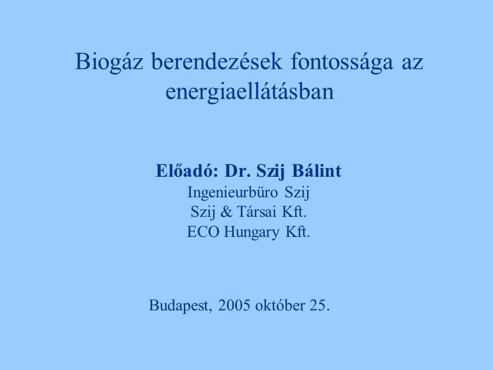 Biogáz berendezések fontossága az energiaellátásban Előadó: Dr.