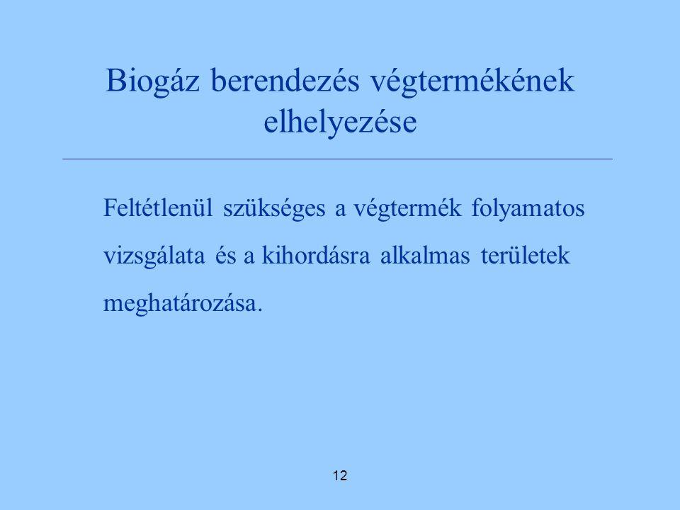 12 Biogáz berendezés végtermékének elhelyezése Feltétlenül szükséges a végtermék folyamatos vizsgálata és a kihordásra alkalmas területek meghatározása.