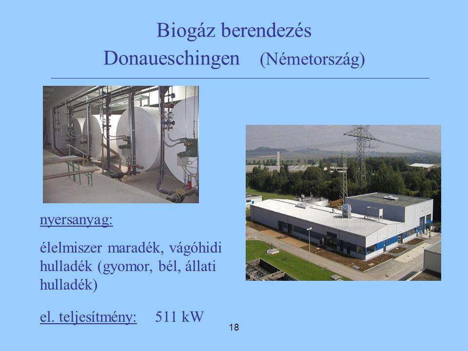 18 Biogáz berendezés Donaueschingen (Németország) nyersanyag: élelmiszer maradék, vágóhidi hulladék (gyomor, bél, állati hulladék) el.