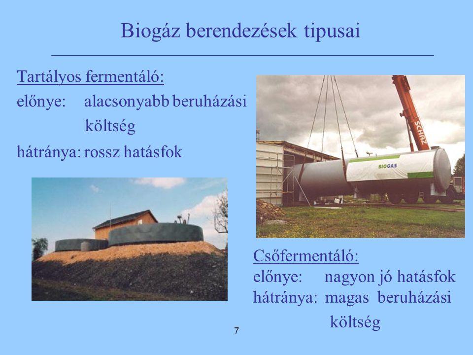 7 Biogáz berendezések tipusai Tartályos fermentáló: előnye: alacsonyabb beruházási költség hátránya: rossz hatásfok Csőfermentáló: előnye: nagyon jó hatásfok hátránya: magas beruházási költség