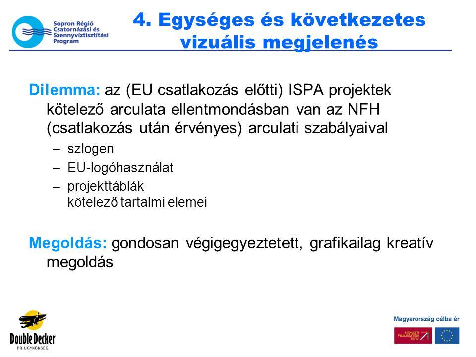 4. Egységes és következetes vizuális megjelenés Dilemma: az (EU csatlakozás előtti) ISPA projektek kötelező arculata ellentmondásban van az NFH (csatl