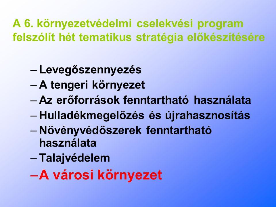 A 6. környezetvédelmi cselekvési program felszólít hét tematikus stratégia előkészítésére –Levegőszennyezés –A tengeri környezet –Az erőforrások fennt