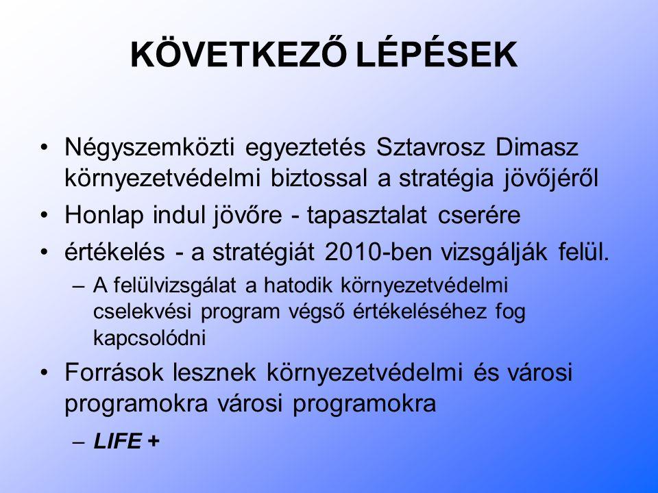 KÖVETKEZŐ LÉPÉSEK Négyszemközti egyeztetés Sztavrosz Dimasz környezetvédelmi biztossal a stratégia jövőjéről Honlap indul jövőre - tapasztalat cserére