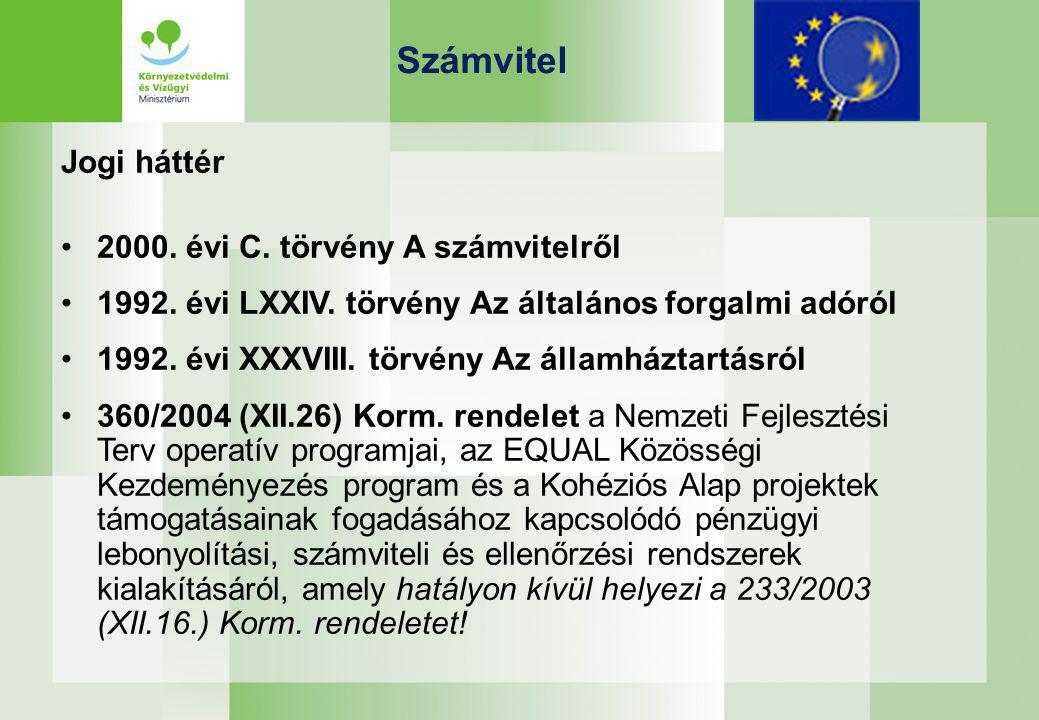 Számvitel Jogi háttér 2000. évi C. törvény A számvitelről 1992.