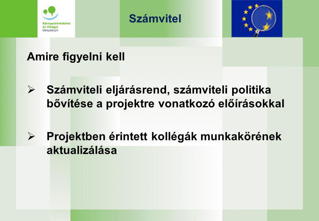 Számvitel Amire figyelni kell  Számviteli eljárásrend, számviteli politika bővítése a projektre vonatkozó előírásokkal  Projektben érintett kollégák munkakörének aktualizálása