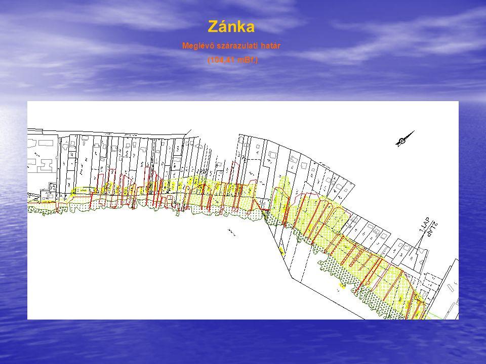 Zánka Meglévő szárazulati határ (104,41 mBf.) Balaton