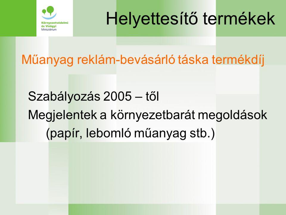 Helyettesítő termékek Műanyag reklám-bevásárló táska termékdíj Szabályozás 2005 – től Megjelentek a környezetbarát megoldások (papír, lebomló műanyag