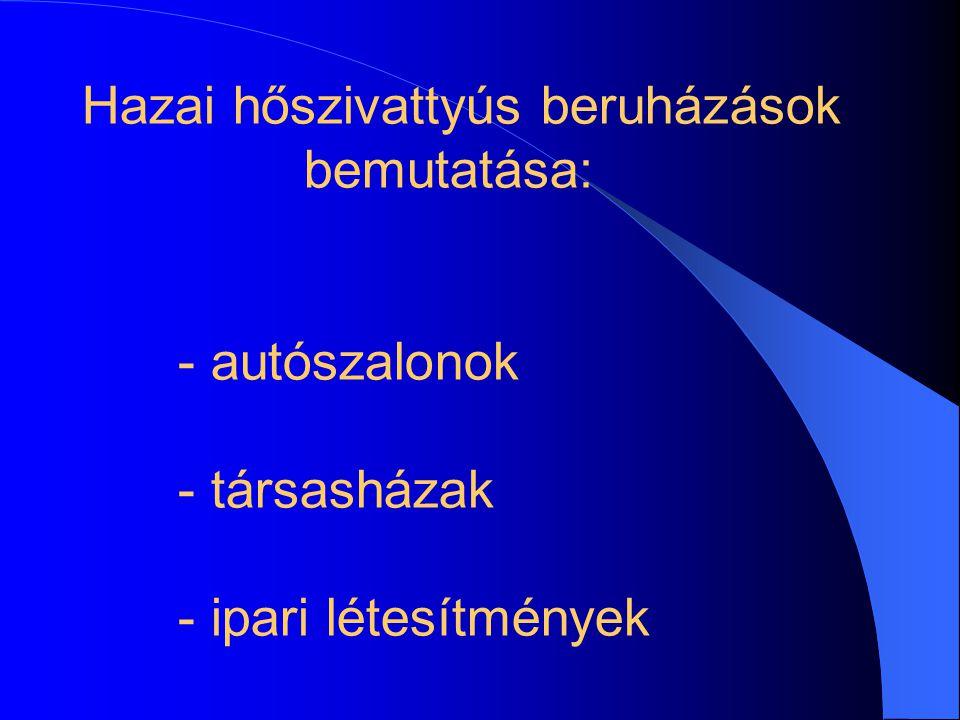 Hazai hőszivattyús beruházások bemutatása: - autószalonok - társasházak - ipari létesítmények
