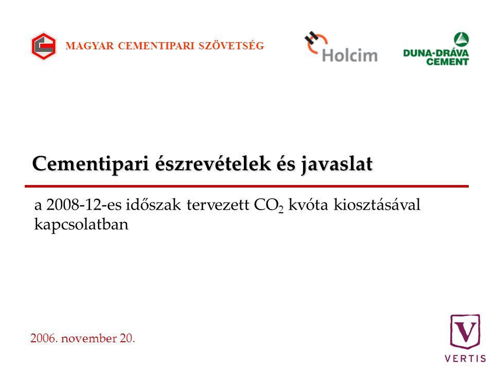 Cementipari észrevételek és javaslat 2006. november 20.