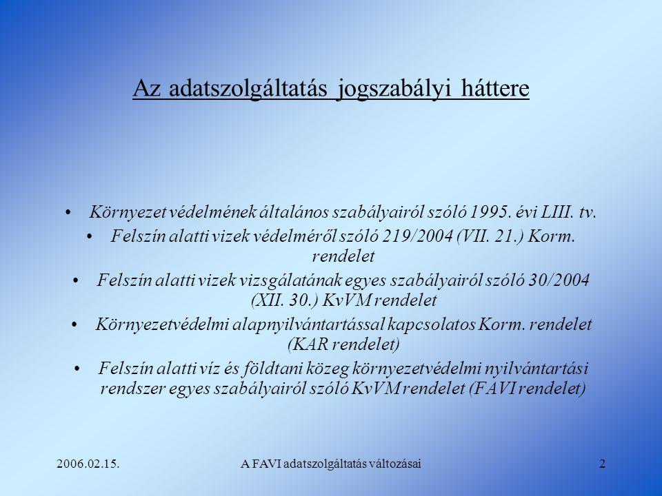 2006.02.15.A FAVI adatszolgáltatás változásai2 Az adatszolgáltatás jogszabályi háttere Környezet védelmének általános szabályairól szóló 1995. évi LII