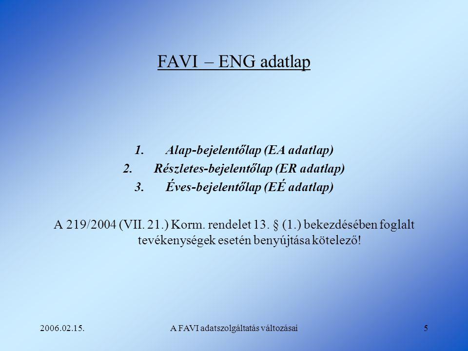 2006.02.15.A FAVI adatszolgáltatás változásai5 FAVI – ENG adatlap 1.Alap-bejelentőlap (EA adatlap) 2.Részletes-bejelentőlap (ER adatlap) 3.Éves-bejele