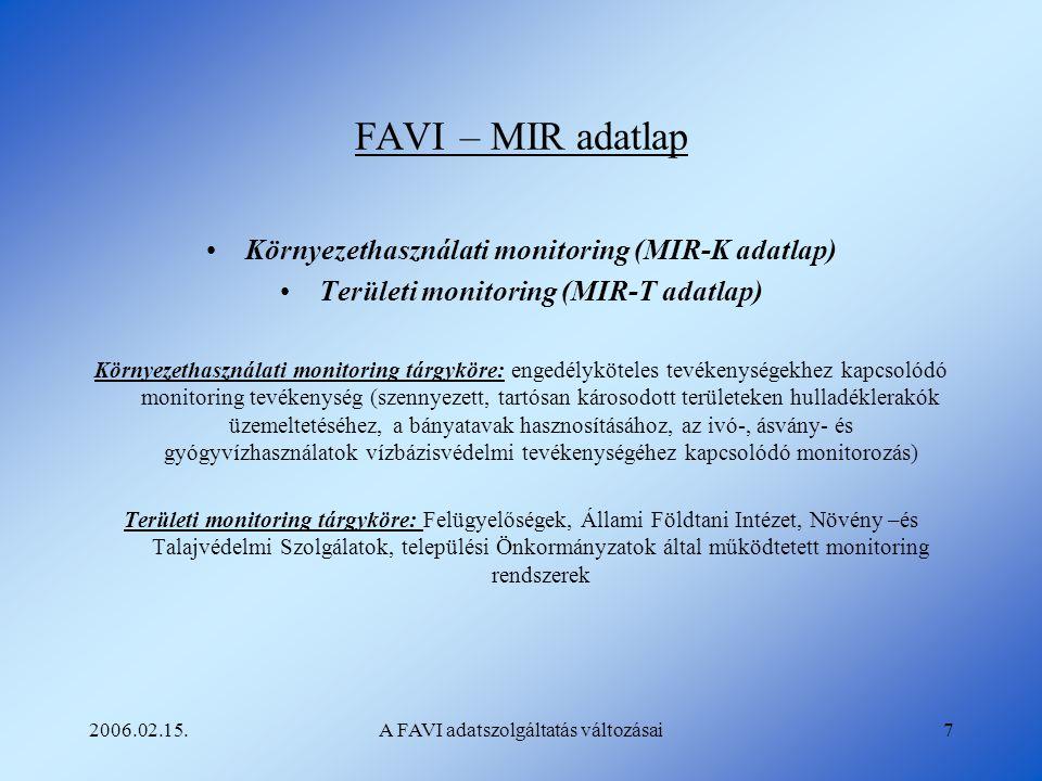 2006.02.15.A FAVI adatszolgáltatás változásai7 FAVI – MIR adatlap Környezethasználati monitoring (MIR-K adatlap) Területi monitoring (MIR-T adatlap) K