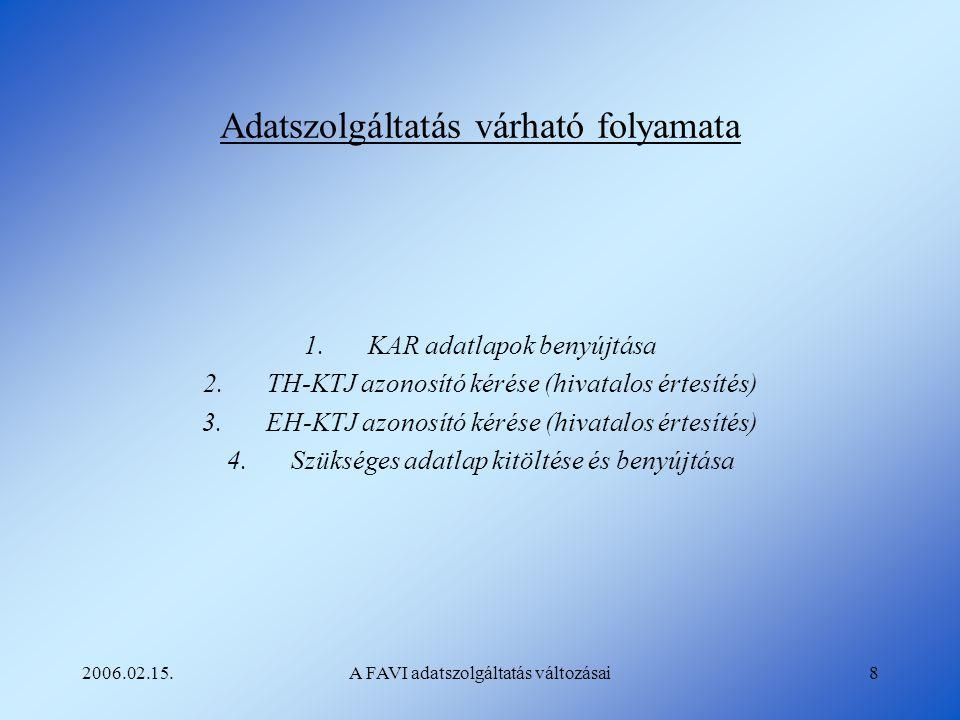 2006.02.15.A FAVI adatszolgáltatás változásai8 Adatszolgáltatás várható folyamata 1.KAR adatlapok benyújtása 2.TH-KTJ azonosító kérése (hivatalos érte