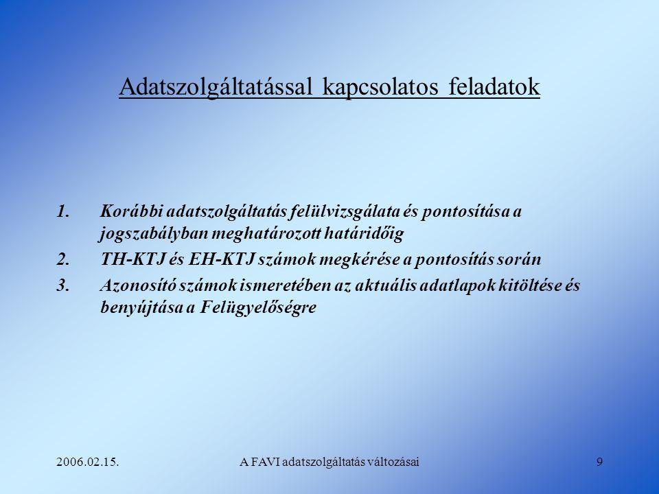 2006.02.15.A FAVI adatszolgáltatás változásai9 Adatszolgáltatással kapcsolatos feladatok 1.Korábbi adatszolgáltatás felülvizsgálata és pontosítása a j
