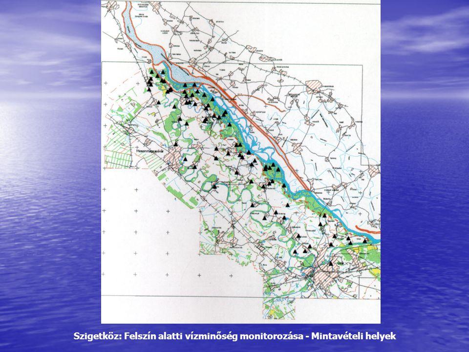 Szigetköz: Felszín alatti vízminőség monitorozása - Mintavételi helyek