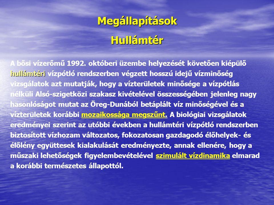 Megállapítások Hullámtér hullámtéri A bősi vízerőmű 1992.