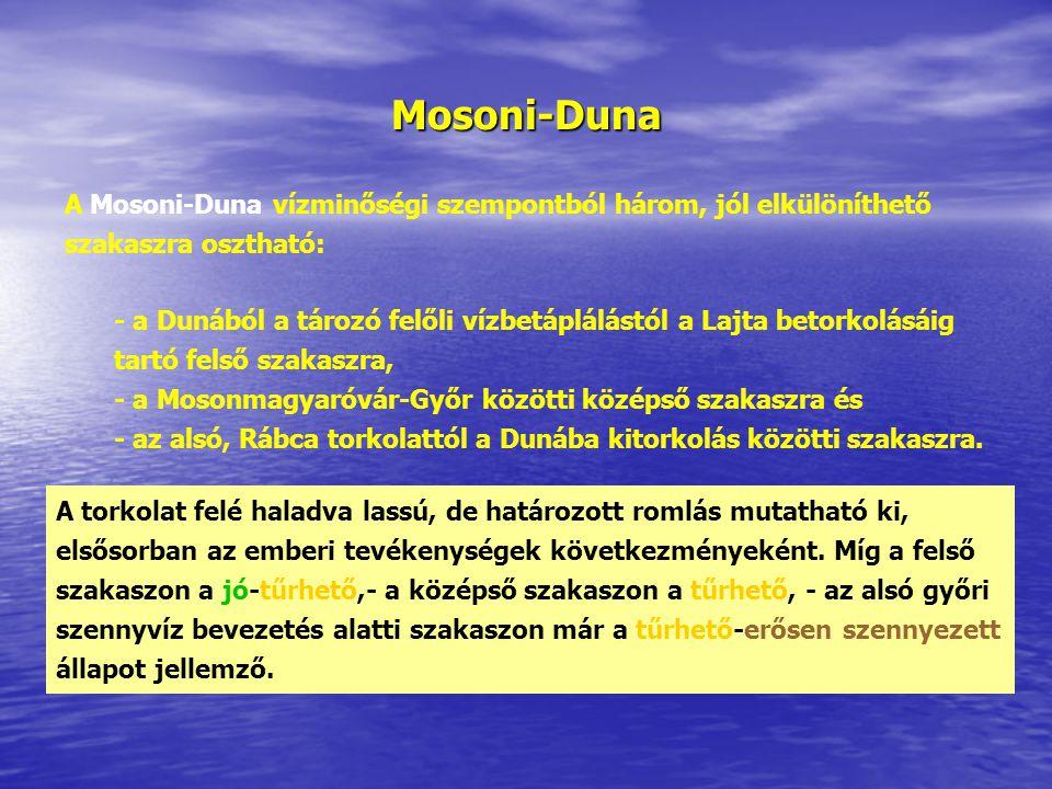 Mosoni-Duna A Mosoni-Duna vízminőségi szempontból három, jól elkülöníthető szakaszra osztható: - a Dunából a tározó felőli vízbetáplálástól a Lajta betorkolásáig tartó felső szakaszra, - a Mosonmagyaróvár-Győr közötti középső szakaszra és - az alsó, Rábca torkolattól a Dunába kitorkolás közötti szakaszra.