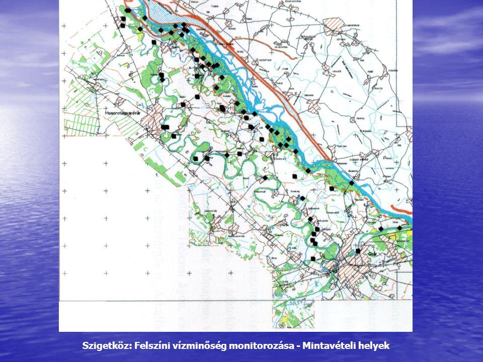 Szigetköz: Felszíni vízminőség monitorozása - Mintavételi helyek