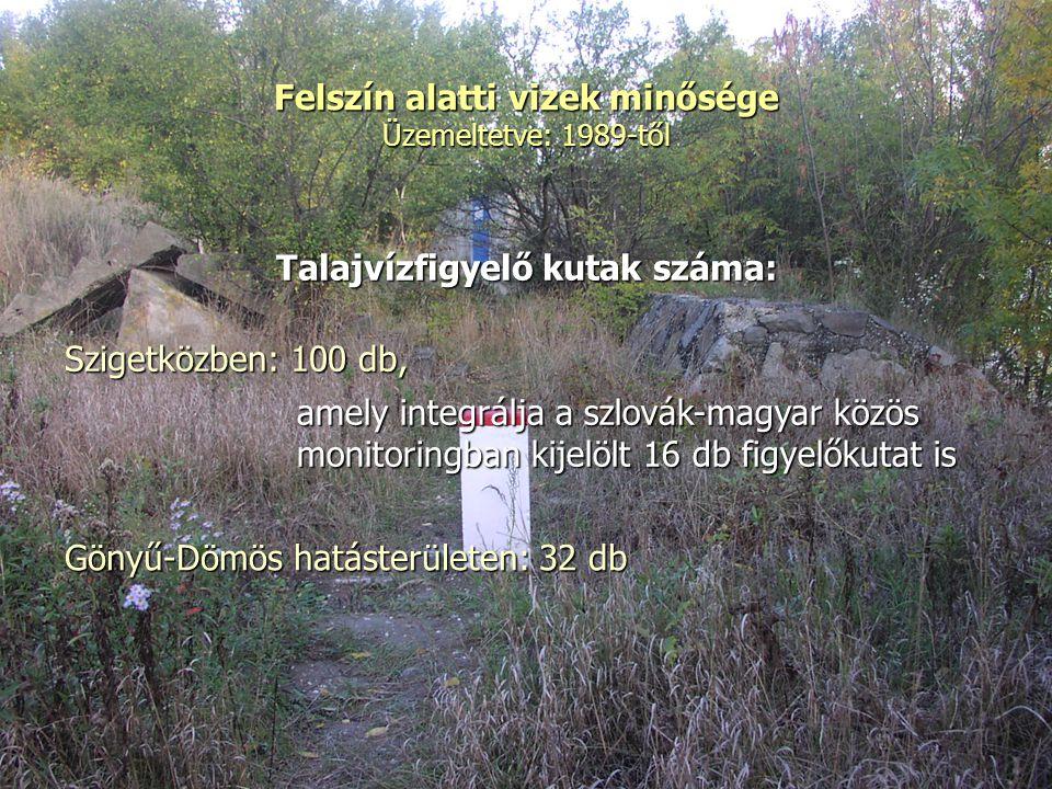 Felszín alatti vizek minősége Üzemeltetve: 1989-től Talajvízfigyelő kutak száma: Szigetközben: 100 db, amely integrálja a szlovák-magyar közös monitoringban kijelölt 16 db figyelőkutat is Gönyű-Dömös hatásterületen: 32 db
