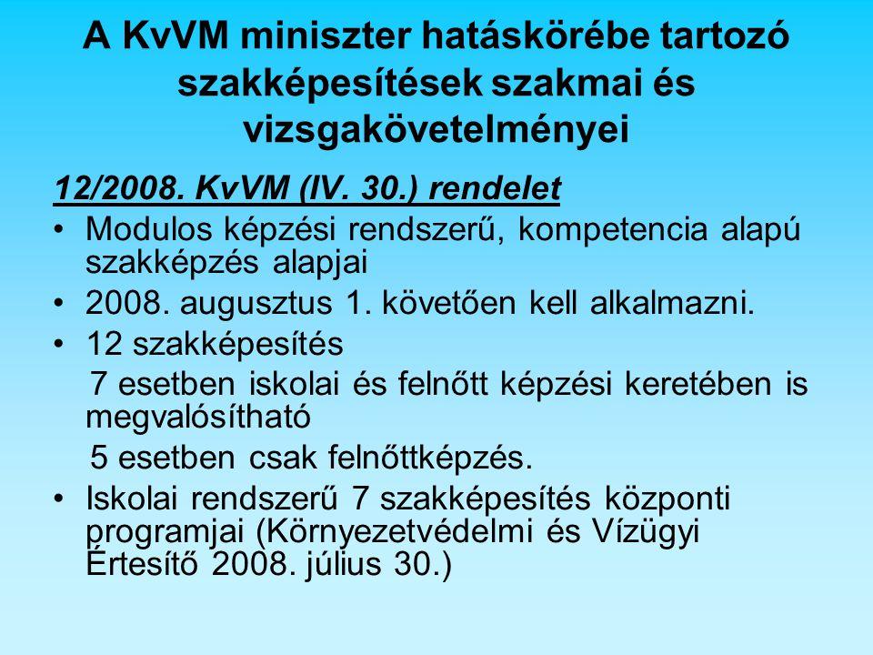 A KvVM miniszter hatáskörébe tartozó szakképesítések szakmai és vizsgakövetelményei 12/2008. KvVM (IV. 30.) rendelet Modulos képzési rendszerű, kompet