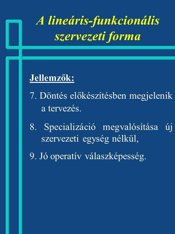 Jellemzők: 4. TOP MENEDZSMENT operatív szintű tehermentesítése, ezen feladatok középvezetőkre való hárítása, TOP MENEDZSMENT  JÖVŐFORMÁLÁS, 5. A term
