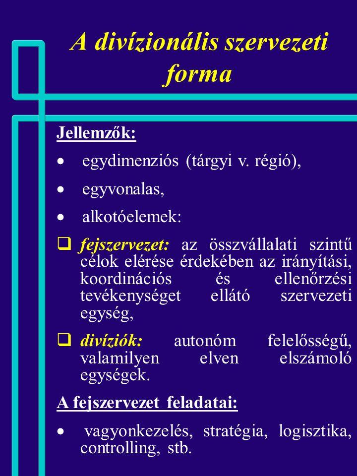 A divízionális szervezeti forma A divízionális szervezet szervezési előfeltételei: 1. egyértelmű, működőképes, perspektivikus üzletági struktúra, 2. p