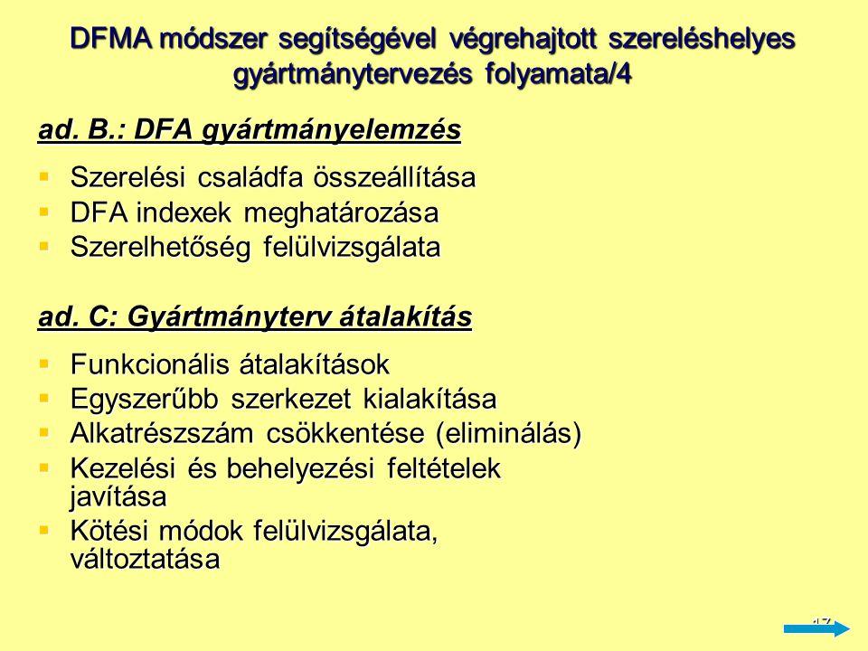17 DFMA módszer segítségével végrehajtott szereléshelyes gyártmánytervezés folyamata/4 ad. B.: DFA gyártmányelemzés  Szerelési családfa összeállítása