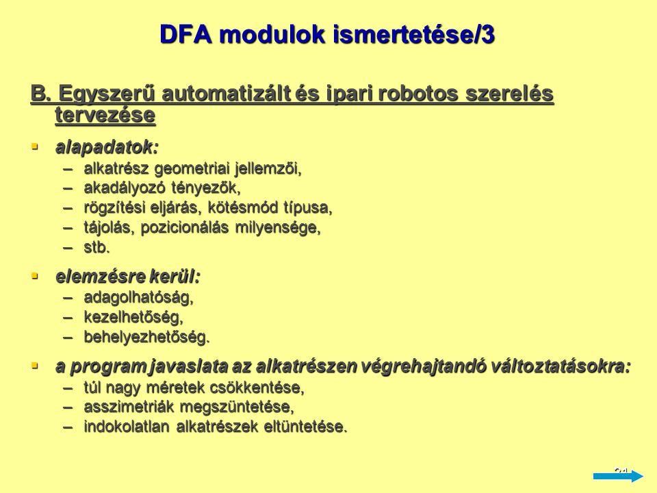 21 DFA modulok ismertetése/3 B. Egyszerű automatizált és ipari robotos szerelés tervezése  alapadatok: –alkatrész geometriai jellemzői, –akadályozó t