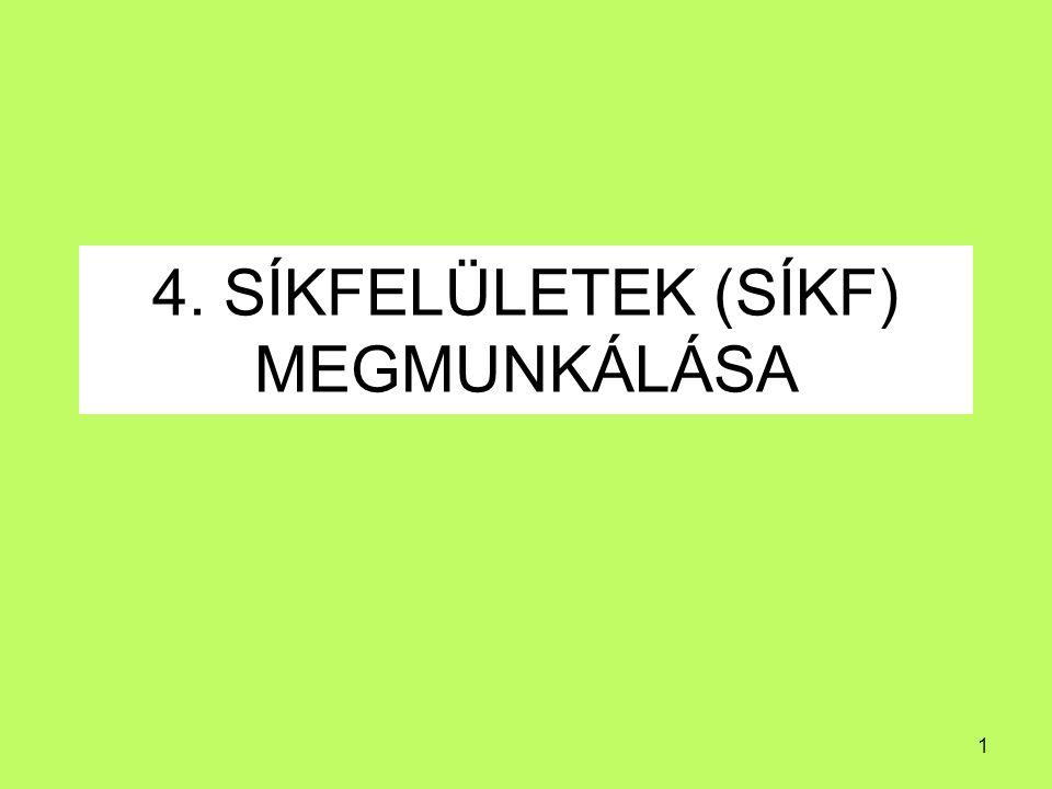 2 4.Sík felületek megmunkálása TARTALOMJEGYZÉK 4.1.
