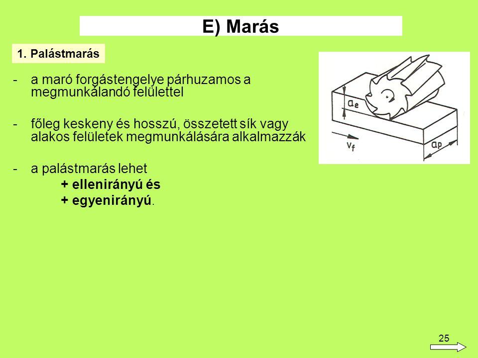 25 -a maró forgástengelye párhuzamos a megmunkálandó felülettel -főleg keskeny és hosszú, összetett sík vagy alakos felületek megmunkálására alkalmazzák -a palástmarás lehet + ellenirányú és + egyenirányú.