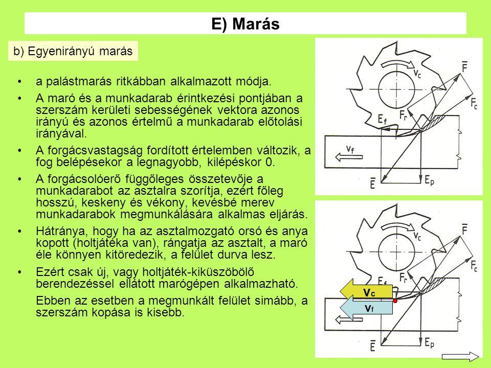 27 a palástmarás ritkábban alkalmazott módja. A maró és a munkadarab érintkezési pontjában a szerszám kerületi sebességének vektora azonos irányú és a