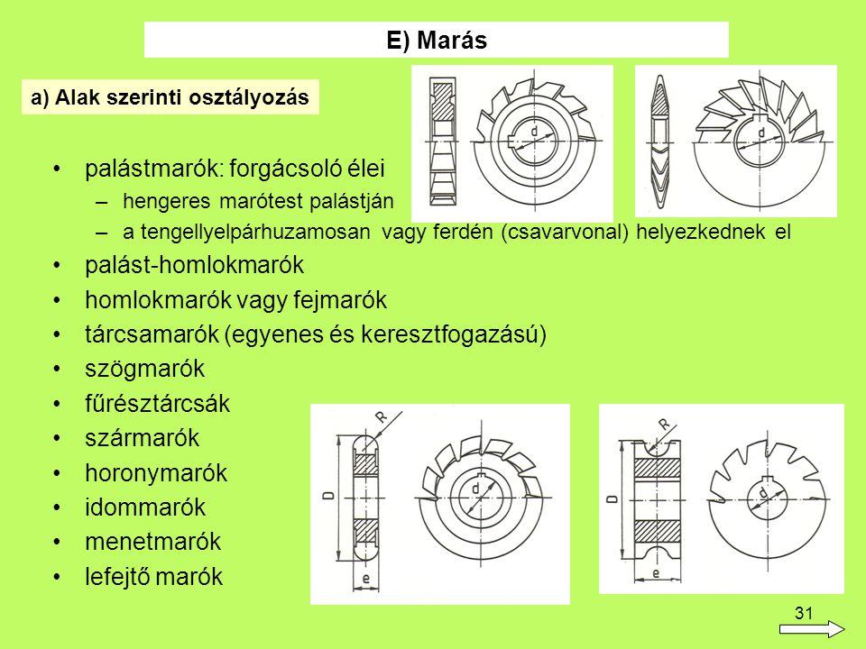 31 palástmarók: forgácsoló élei –hengeres marótest palástján –a tengellyelpárhuzamosan vagy ferdén (csavarvonal) helyezkednek el palást-homlokmarók homlokmarók vagy fejmarók tárcsamarók (egyenes és keresztfogazású) szögmarók fűrésztárcsák szármarók horonymarók idommarók menetmarók lefejtő marók E) Marás a) Alak szerinti osztályozás