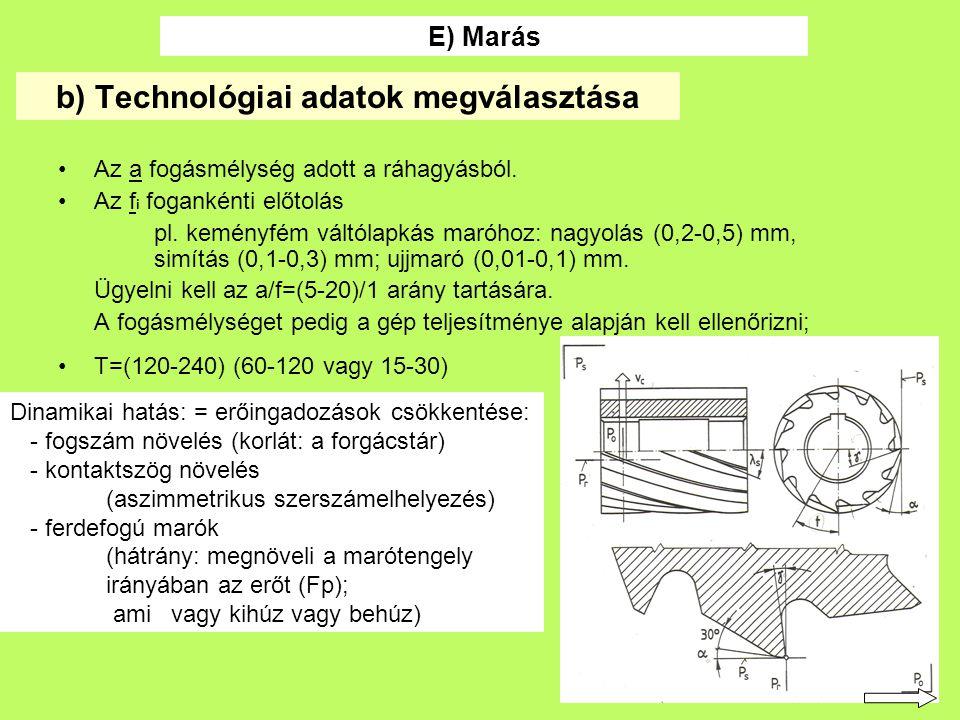 35 b) Technológiai adatok megválasztása Az a fogásmélység adott a ráhagyásból.