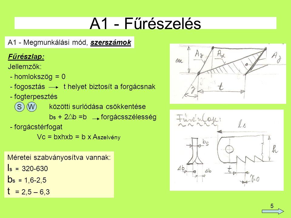 5 A1 - Fűrészelés szerszámok A1 - Megmunkálási mód, szerszámok Fűrészlap: Jellemzők: - homlokszög = 0 t - fogosztás t helyet biztosít a forgácsnak - f