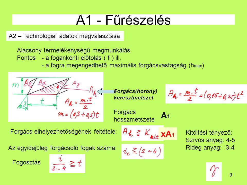 9 A1 - Fűrészelés A2 – Technológiai adatok megválasztása Alacsony termelékenységű megmunkálás.
