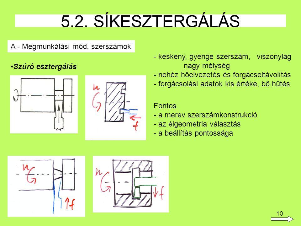 10 5.2. SÍKESZTERGÁLÁS A - Megmunkálási mód, szerszámok Szúró esztergálás - keskeny, gyenge szerszám, viszonylag nagy mélység - nehéz hőelvezetés és f