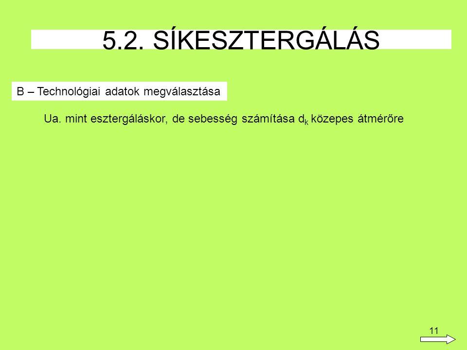 11 B – Technológiai adatok megválasztása 5.2.SÍKESZTERGÁLÁS Ua.