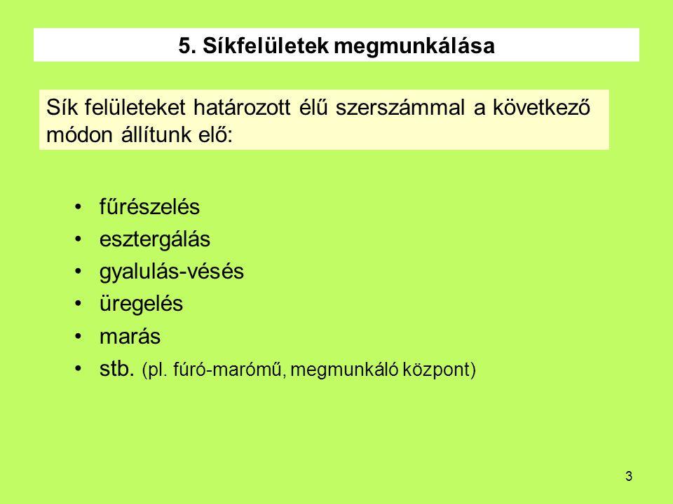 3 5. Síkfelületek megmunkálása fűrészelés esztergálás gyalulás-vésés üregelés marás stb. (pl. fúró-marómű, megmunkáló központ) Sík felületeket határoz
