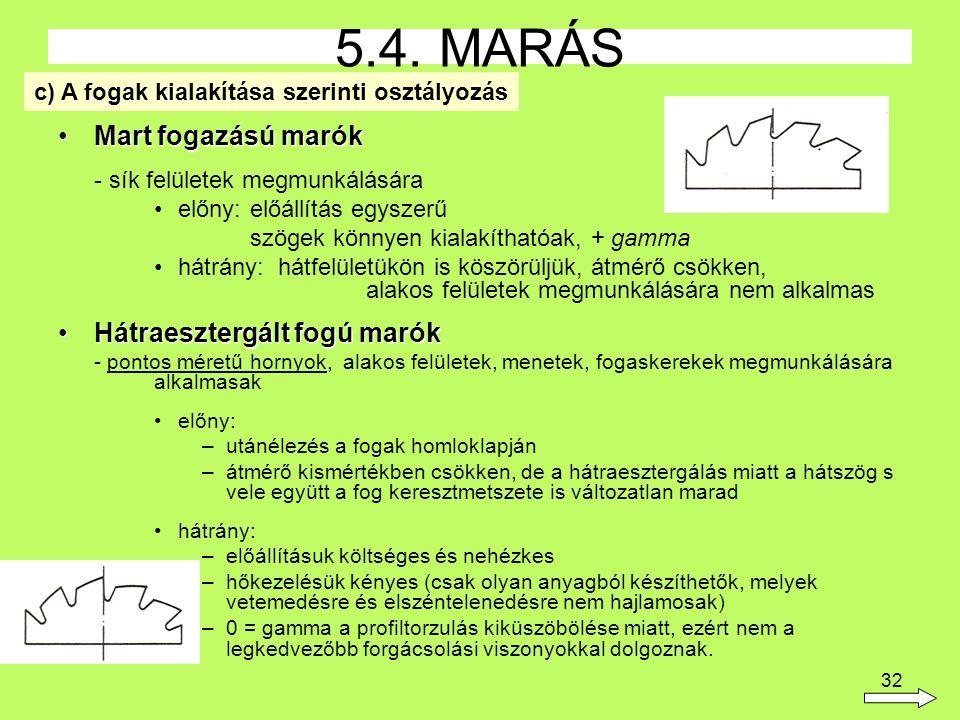 32 Mart fogazású marókMart fogazású marók - sík felületek megmunkálására előny:előállítás egyszerű szögek könnyen kialakíthatóak, + gamma hátrány: hátfelületükön is köszörüljük, átmérő csökken, alakos felületek megmunkálására nem alkalmas Hátraesztergált fogú marókHátraesztergált fogú marók - pontos méretű hornyok, alakos felületek, menetek, fogaskerekek megmunkálására alkalmasak előny: –utánélezés a fogak homloklapján –átmérő kismértékben csökken, de a hátraesztergálás miatt a hátszög s vele együtt a fog keresztmetszete is változatlan marad hátrány: –előállításuk költséges és nehézkes –hőkezelésük kényes (csak olyan anyagból készíthetők, melyek vetemedésre és elszéntelenedésre nem hajlamosak) –0 = gamma a profiltorzulás kiküszöbölése miatt, ezért nem a legkedvezőbb forgácsolási viszonyokkal dolgoznak.