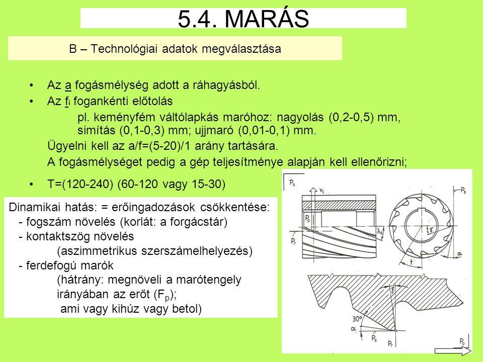 34 B – Technológiai adatok megválasztása Az a fogásmélység adott a ráhagyásból.