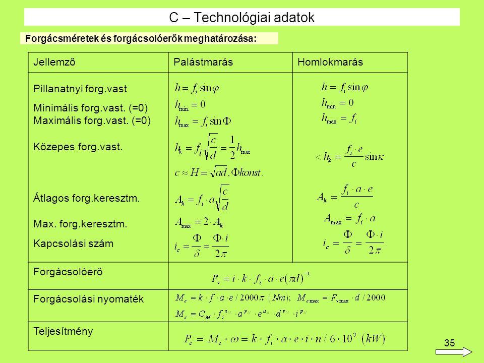 35 C – Technológiai adatok Forgácsméretek és forgácsolóerők meghatározása: JellemzőPalástmarásHomlokmarás Pillanatnyi forg.vast Minimális forg.vast. (