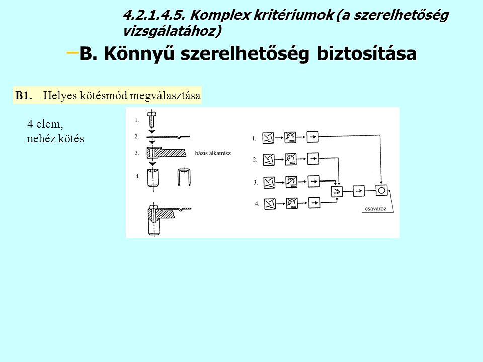 4.2.1.4.5.Komplex kritériumok (a szerelhetőség vizsgálatához) – B.