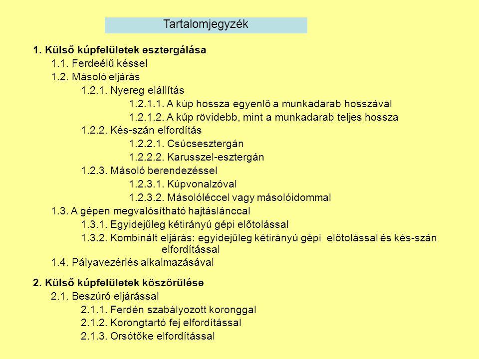 2.Külső kúpfelületek köszörülése 2.2. Hosszirányú előtolással 2.2.1.