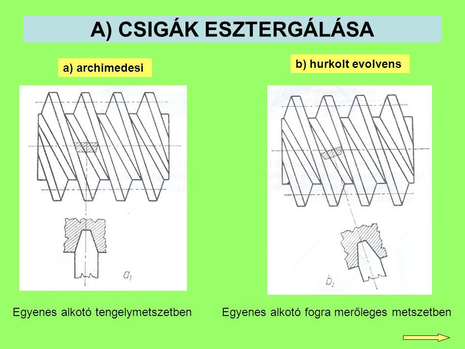 A) CSIGÁK ESZTERGÁLÁSA a) archimedesi b) hurkolt evolvens Egyenes alkotó tengelymetszetbenEgyenes alkotó fogra merőleges metszetben