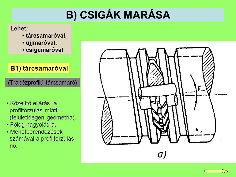 B) CSIGÁK MARÁSA B1) tárcsamaróval Lehet: tárcsamaróval, ujjmaróval, csigamaróval. Közelítő eljárás, a profiltorzulás miatt (felületidegen geometria).