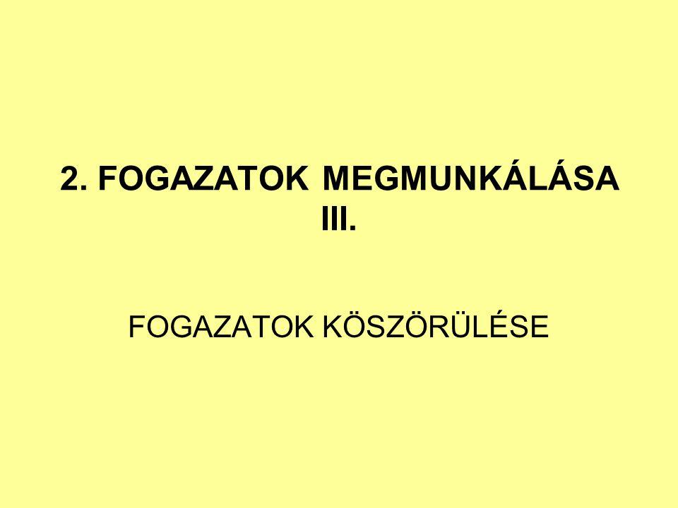 2. FOGAZATOK MEGMUNKÁLÁSA III. FOGAZATOK KÖSZÖRÜLÉSE