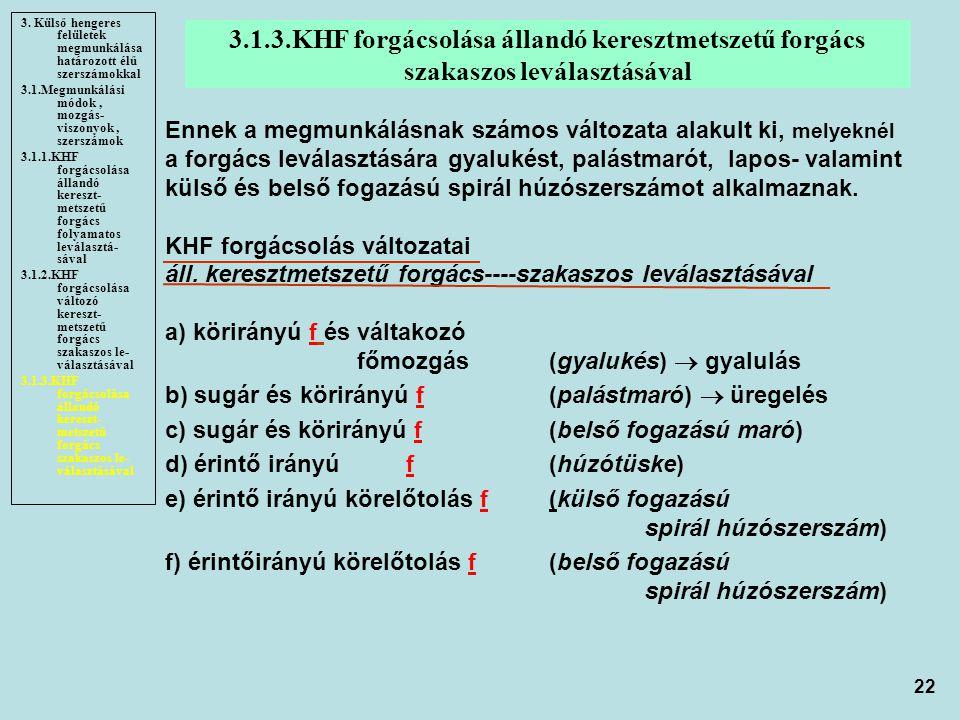22 3.1.3.KHF forgácsolása állandó keresztmetszetű forgács szakaszos leválasztásával 3. Külső hengeres felületek megmunkálása határozott élű szerszámok
