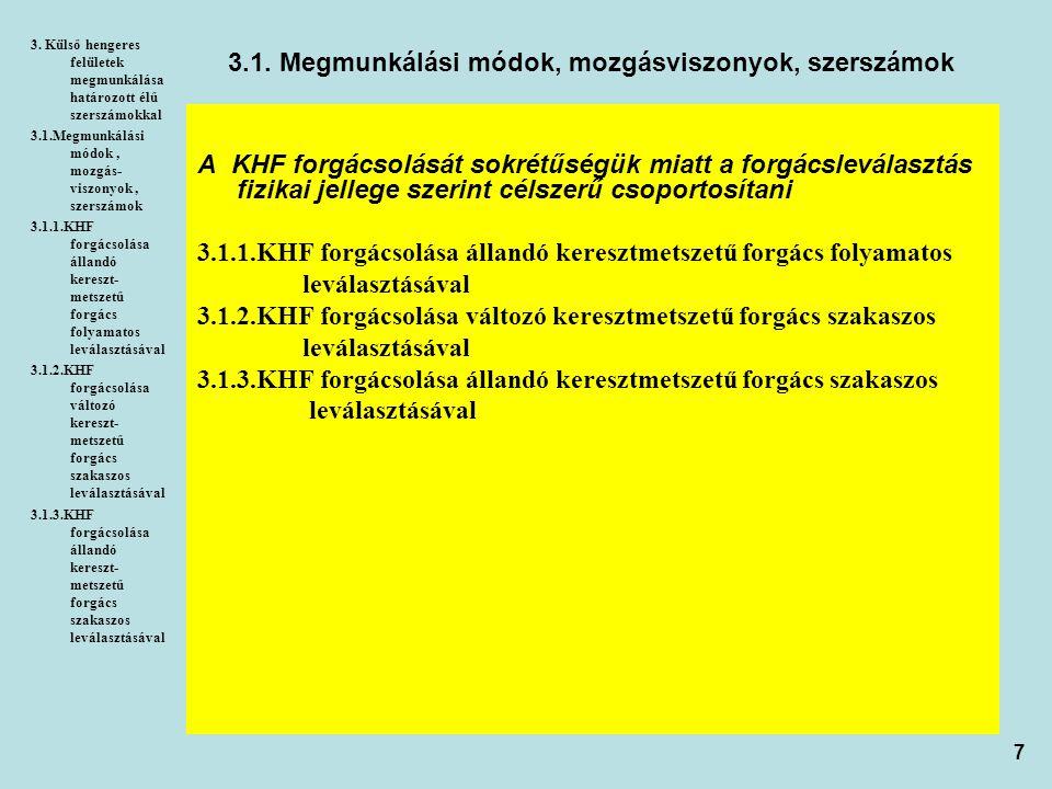 8 3.1.1.KHF forgácsolása állandó keresztmetszetű forgács folyamatos leválasztásával 3.